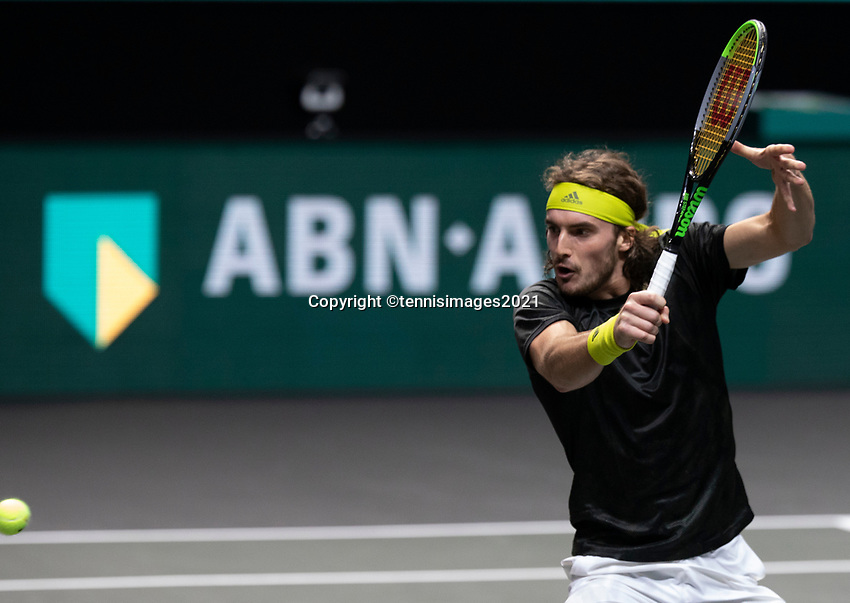 Rotterdam, The Netherlands, 2 march  2021, ABNAMRO World Tennis Tournament, Ahoy, First round match: Stefanos Tsitsipas (GRE).<br /> Photo: www.tennisimages.com/henkkoster