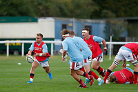 Charlie Gowling of London Scottish warming up during the Championship Cup match between London Scottish Football Club and Nottingham Rugby at Richmond Athletic Ground, Richmond, United Kingdom on 28 September 2019. Photo by Carlton Myrie / PRiME Media Images