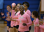 Marymount's Morgan McAlpin throws a souvenir ball into the stands before a college volleyball match against Shenandoah at Marymount University in Arlington, Vir., on Tuesday, Oct. 8, 2013.<br /> Photo by Cathleen Allison