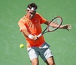 Roger Federer (SUI) during his quarterfinal match against Tomas Berdych (CZE) at the BNP Parisbas Open in Indian Wells, CA on March 20, 2015.