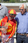 CERRITOS, CA  JULY 14:  Bob Baffert congratulates Flavien Prat after riding Once On Whiskey to win the Los Alamitos Derby (Grade lll)  on July 14, 2018, at Los Alamitos Race Course in Cerritos, CA.(Photo by Casey Phillips/Eclipse Sportswire/Getty Images)
