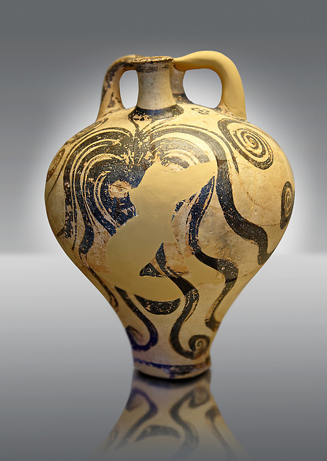 """Photo of a Three handles """"Palace Style"""" amphora with three large octopuses within a marines cape of rocks and seaweed. A mycenaean copy of a Minoan Marine Style.   Mycenae tomb 2, Greece. 15th century BC,  cat no: 6725, National Archaeological Museum, Athens."""