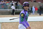 HOT SPRINGS, AR - APRIL 14: Jockey Luis Saez before winning the Arkansas Derby at Oaklawn Park on April 14, 2018 in Hot Springs, Arkansas. (Photo by Justin Manning/Eclipse Sportswire/Getty Images)
