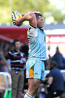 Dylan Hartley of Northampton Saints throws in to the lineout during the Aviva Premiership match between Harlequins and Northampton Saints at the Twickenham Stoop on Saturday 4th May 2013 (Photo by Rob Munro)