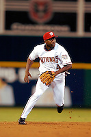 3 September 2005: Deivi Cruz, infielder for the Washington Nationals, makes a play during a game against the Philadelphia Phillies. The Nationals defeated the Phillies 5-4 at RFK Stadium in Washington, DC. <br />