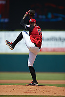 Hickory Crawdads starting pitcher Hans Crouse (10) in action against the Greensboro Grasshoppers at L.P. Frans Stadium on May 26, 2019 in Hickory, North Carolina. The Crawdads defeated the Grasshoppers 10-8. (Brian Westerholt/Four Seam Images)