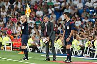Galatasaray´s coach Hamza Hamzaoglu during Santiago Bernabeu Trophy match at Santiago Bernabeu stadium in Madrid, Spain. August 18, 2015. (ALTERPHOTOS/Victor Blanco)