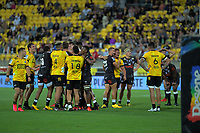 Tempers flare during the Super Rugby match between the Hurricanes and Sharks at Sky Stadium in Wellington, New Zealand on Saturday, 15 February 2020. Photo: Dave Lintott / lintottphoto.co.nz