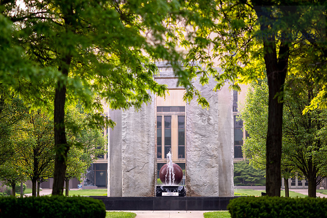 May 27, 2020; Clarke Memorial Fountain, commonly known as Stonehenge (Photo by Matt Cashore/University of Notre Dame)