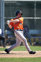 Baltimore Orioles Austin Anderson (90) follows through on a swing during a minor league Spring Training game against the Minnesota Twins on March 17, 2017 at the Buck O'Neil Baseball Complex in Sarasota, Florida.  (Mike Janes/Four Seam Images)
