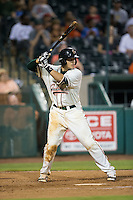 Aaron Blanton (11) of the Greensboro Grasshoppers at bat against the Kannapolis Intimidators at NewBridge Bank Park on July 7, 2016 in Greensboro, North Carolina.  The Dash defeated the Pelicans 13-9.  (Brian Westerholt/Four Seam Images)