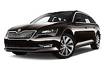Stock pictures of low aggressive front three quarter view of 2016 Skoda Superb Combi Laurin & Klement 5 Door Wagon Low Aggressive
