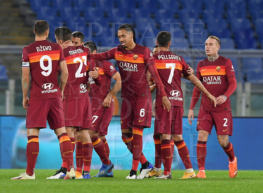 Football, Serie A: AS Roma - Fiorentina, Olympic stadium, Rome, November 1, 2020. <br /> Roma's Leonardo Spinazzola (third from left) celebrates after scoring during the Italian Serie A football match between Roma and Fiorentina at Olympic stadium in Rome, on November 1, 2020. <br /> UPDATE IMAGES PRESS/Isabella Bonotto