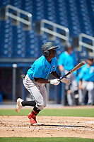 Miami Marlins Jazz Chisholm (1) at bat during an Instructional League game against the Washington Nationals on September 26, 2019 at FITTEAM Ballpark of The Palm Beaches in Palm Beach, Florida.  (Mike Janes/Four Seam Images)
