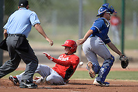 Cincinnati Reds outfielder Jonathan Reynoso (38) slides into home as the ball hits him in the back on an in the park home run as catcher Joe Jackson (22) attempts to field the ball during an Instructional League game against the Texas Rangers on October 7, 2013 at Goodyear Training Complex in Goodyear, Arizona.  (Mike Janes/Four Seam Images)