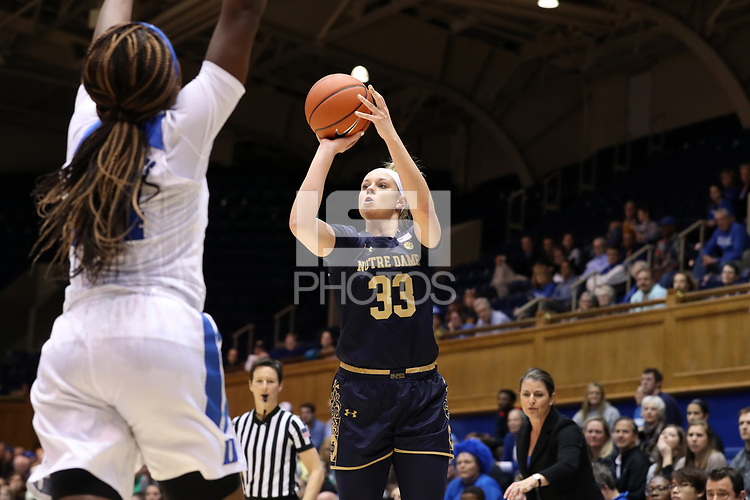 DURHAM, NC - JANUARY 16: Sam Brunelle #33 of Notre Dame University takes a shot during a game between Notre Dame and Duke at Cameron Indoor Stadium on January 16, 2020 in Durham, North Carolina.