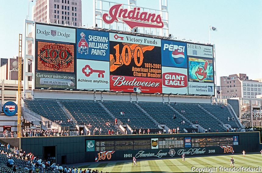 Ballparks: Cleveland--Jacobs Field. The Scoreboard.