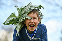 BNPS.co.uk (01202 558833)<br /> Pic: ZacharyCulpin/BNPS <br /> <br /> Weather input - <br /> <br /> Crowning glories: Dorset Flower Farmers, the Priestley family perfect their flower crown-making ahead of Garden Day on Sunday 9th May, the nationwide celebration of the benefits of gardens for health and wellbeing.  <br /> <br /> Pictured: Milo Priestley, 9 with his epic Cardoon leaf crown<br /> <br /> Garden Day will be back for a third successive year on Sunday, 9th May 2021 to celebrate outdoor and indoor garden spaces. The nationwide  movement is calling on plant-lovers to make a flower crown, and share their plant spaces with family and<br /> friends