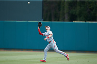 North Carolina State Wolfpack right fielder Brock Deatherage (13) tracks a fly ball during the game against the Northeastern Huskies at Doak Field at Dail Park on June 2, 2018 in Raleigh, North Carolina. The Wolfpack defeated the Huskies 9-2. (Brian Westerholt/Four Seam Images)