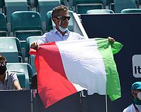 MIAMI GARDENS, FL - APRIL 04: a man is seen holding the Italian Flag as Hubert Hurkacz Vs Jannik Sinner, Hubert Hurkacz defeating Jannik Sinner 7-6 (7-4) 6-4 during the Men's finals at the 2021Miami Open at Hard Rock Stadium on April 4, 2021 in Miami Gardens, Florida. Credit: mpi04/MediaPunch
