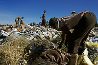 Unemployed and desperate, people scavenge through waste at a rubbish dump looking for items to sell.