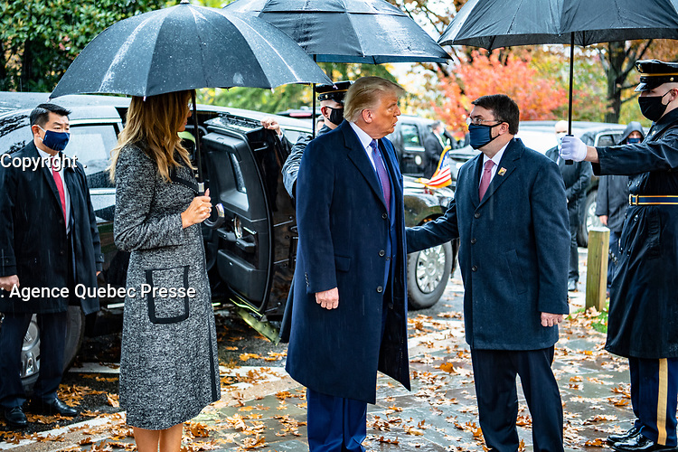 Secretary of Veterans Affairs Robert Wilkie greets President Donald J. Trump and First Lady Melania Trump upon arrival to Arlington National Cemetery, Arlington, Virginia, November 11, 2020. President Trump came to ANC, along with Vice President MIke Pence, to participate in a Presidential Armed Forces Full Honor Wreath-Laying Ceremony at the Tomb of the Unknown Soldier as part of the nation's 67th Veterans Day Observance. (U.S. Army photo by Elizabeth Fraser / Arlington National Cemetery / released)