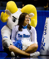 A North Carolina cheerleader during the NCAA Basketball Men's East Regional at Time Warner Cable Arena in Charlotte, NC.