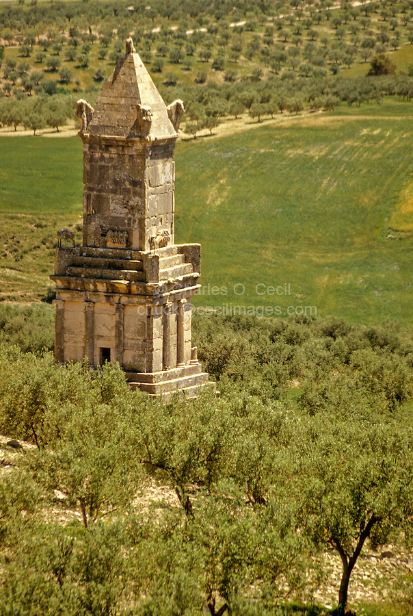 Tunisia, Dougga.  Libyo-Punic Mausoleum, 2nd. Century B.C.  Tunisia's finest example of pre-Roman architecture.  Rebuilt by the French, 1910.