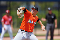 Miami Marlins pitcher Daniel Castano (78) during a Minor League Spring Training game against the Washington Nationals on March 28, 2018 at FITTEAM Ballpark of the Palm Beaches in West Palm Beach, Florida.  (Mike Janes/Four Seam Images)