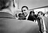 Boston, Massachusetts.USA.July 27, 2004..During the National Democratic Convention in Boston Barack Obama, Democratic candidate for the U.S. Senate from Illinois speaks to the press at a meeting with environmentalists.