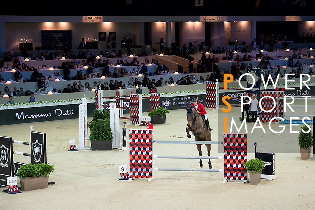 Pius Schwizer on PSG Future competes during the Table A with Jump-off 145 - Airbus Trophy at the Longines Masters of Hong Kong on 20 February 2016 at the Asia World Expo in Hong Kong, China. Photo by Li Man Yuen / Power Sport Images