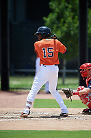 GCL Astros left fielder Hector Martinez (15) at bat during a game against the GCL Nationals on August 6, 2018 at FITTEAM Ballpark of the Palm Beaches in West Palm Beach, Florida.  GCL Astros defeated GCL Nationals 3-0.  (Mike Janes/Four Seam Images)
