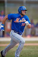 New York Mets Tim Tibow (15) runs to first base during a minor league Spring Training game against the Miami Marlins on March 26, 2017 at the Roger Dean Stadium Complex in Jupiter, Florida.  (Mike Janes/Four Seam Images)