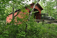 Slaughter House covered bridge in Northfield, VT. in Washington county, Central Vermont. 55 foot Queenpost Truss bridge built in 1872, crosses the Dog River.  Located south of northfield falls just off Rt. 12.