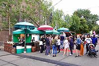 Nederland Amsterdam  -  Augustus 2018.  Westergasfabriek. Het eerste Vegan Food Festival. Kraampje van Vleesch noch Visch.   Foto Berlinda van Dam / Hollandse Hoogte