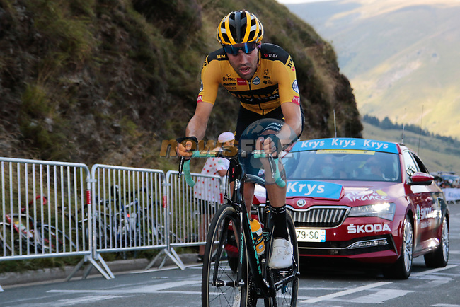 Tom Dumoulin (NED) Team Jumbo-Visma climbs the Col de Peyresourde in front during Stage 8 of Tour de France 2020, running 141km from Cazeres-sur-Garonne to Loudenvielle, France. 5th September 2020. <br /> Picture: Colin Flockton | Cyclefile<br /> All photos usage must carry mandatory copyright credit (© Cyclefile | Colin Flockton)