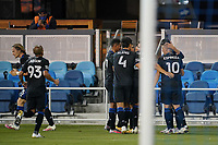 SAN JOSE, CA - NOVEMBER 4: Carlos Fierro #21 of the San Jose Earthquakes celebrates scoring with teammates during a game between Los Angeles FC and San Jose Earthquakes at Earthquakes Stadium on November 4, 2020 in San Jose, California.