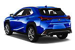 Car pictures of rear three quarter view of a 2019 Lexus UX 250h-F-SPORT 5 Door SUV angular rear