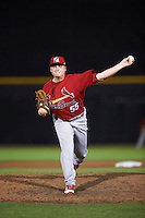 Palm Beach Cardinals relief pitcher Michael Heesch (55) delivers a pitch during a game against the Dunedin Blue Jays on April 15, 2016 at Florida Auto Exchange Stadium in Dunedin, Florida.  Dunedin defeated Palm Beach 8-7.  (Mike Janes/Four Seam Images)