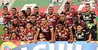 IBAGUÉ -COLOMBIA, 12-08-2015. Jugadores de Deportes Tolima posan para una foto previo al encuentro con Patriotas FC por la fecha 16 de la Liga Aguila II 2016 jugado en el estadio Manuel Murillo Toro de la ciudad de Ibagué./ Players of  Deportes Tolima pose to a photo prior the match against Patriotas FC for the date 16 of the Aguila League II 2016 played at Manuel Murillo Toro stadium in Ibague city. Photo: VizzorImage / Juan Carlos Escobar / Str