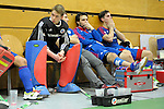 GER - Luebeck, Germany, February 06: Players of Mannheimer HC look dejected after the 1. Bundesliga Herren indoor hockey semi final match at the Final 4 between Uhlenhorst Muelheim (white) and Mannheimer HC (blue) on February 6, 2016 at Hansehalle Luebeck in Luebeck, Germany. Final score 7-5 (HT 2-3). (Photo by Dirk Markgraf / www.265-images.com) *** Local caption *** Andreas Spaeck #1 of Mannheimer HC, Patrick Harris #17 of Mannheimer HC, Lukas Stumpf #4 of Mannheimer HC, Philipp Collot #13 of Mannheimer HC, Timm Haase #27 of Mannheimer HC