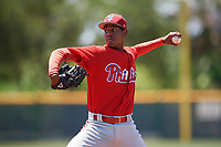 Philadelphia Phillies pitcher Gabriel Yanez (81) during a Minor League Extended Spring Training game against the Pittsburgh Pirates on May 3, 2018 at Pirate City in Bradenton, Florida.  (Mike Janes/Four Seam Images)