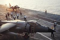 - Royal Navy, vertical takeoff aircrafts Sea Harrier on Illustrious aircraft carrier....- Royal Navy, aerei a decollo verticale Sea Harrier a bordo della portaerei Illustrious