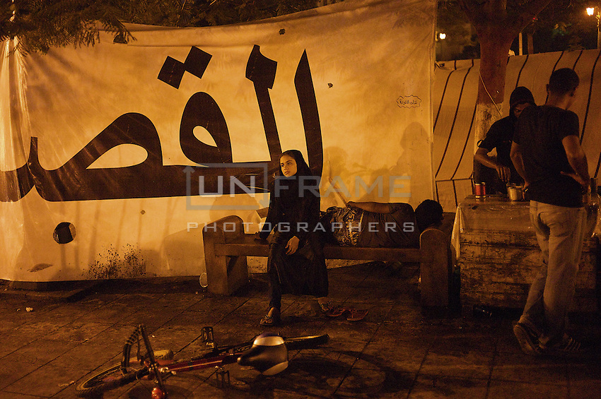 A protester in an overnight vigil in Tahrir during Egypt's military rule after the Mubarak fall
