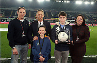 SWANSEA, WALES - MARCH 16: Matchball sponsor with Lee Trundle<br />