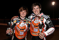 The winners with their trophies; Connor Mountain (left) and Connor Coles of Mildenhall Fen Tigers - National League Pairs, The Rico Spring Classic at the Arena Essex Raceway, Pufleet - 20/03/15 - MANDATORY CREDIT: Rob Newell/TGSPHOTO - Self billing applies where appropriate - 0845 094 6026 - contact@tgsphoto.co.uk - NO UNPAID USE