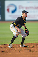 Bristol Pirates shortstop Logan Ratledge (25) on defense against the Johnson City Cardinals at Howard Johnson Field at Cardinal Park on July 6, 2015 in Johnson City, Tennessee.  The Pirates defeated the Cardinals 2-0 in game one of a double-header. (Brian Westerholt/Four Seam Images)