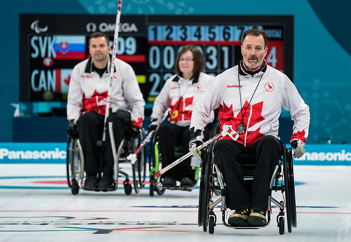 PyeongChang 14/3/2018 - Alternate Jamie Anseeuw as Canada takes on Slovakia in wheelchair curling at the Gangneung Curling Centre during the 2018 Winter Paralympic Games in Pyeongchang, Korea. Photo: Dave Holland/Canadian Paralympic Committee