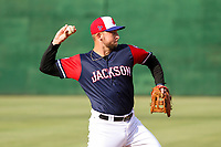 Jackson Generals third baseman Drew Ellis (29) makes a throw to first base between innings of a Southern League game against the Biloxi Shuckers on June 14, 2019 at The Ballpark at Jackson in Jackson, Tennessee. Jackson defeated Biloxi 4-3. (Brad Krause/Four Seam Images)