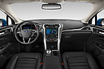Stock photo of straight dashboard view of 2019 Ford Fusion-Hybrid SEL 4 Door Sedan Dashboard
